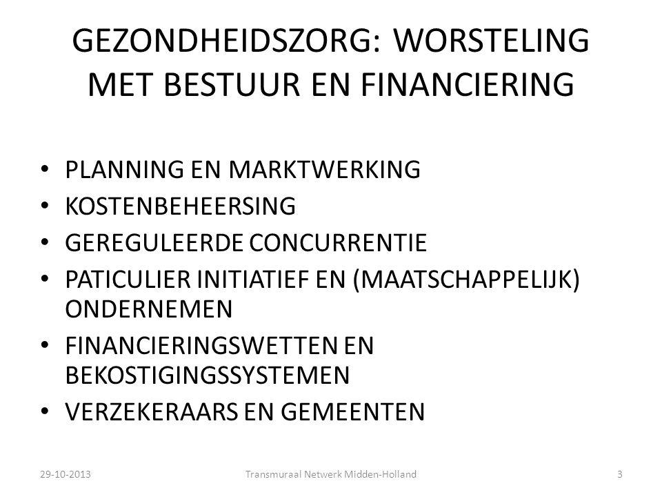 GEZONDHEIDSZORG: WORSTELING MET BESTUUR EN FINANCIERING PLANNING EN MARKTWERKING KOSTENBEHEERSING GEREGULEERDE CONCURRENTIE PATICULIER INITIATIEF EN (