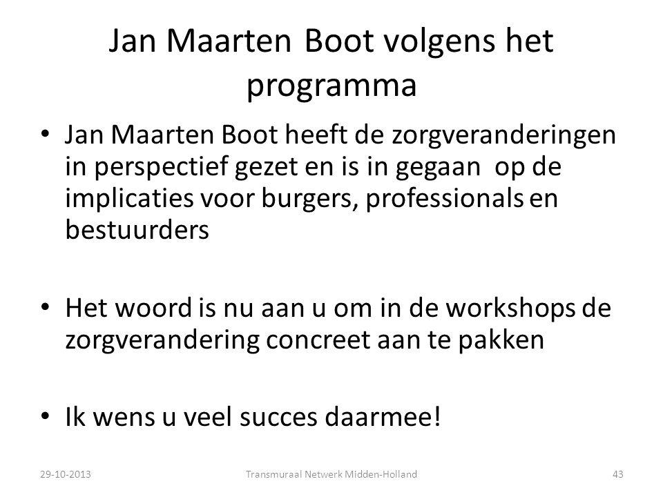 Jan Maarten Boot volgens het programma Jan Maarten Boot heeft de zorgveranderingen in perspectief gezet en is in gegaan op de implicaties voor burgers