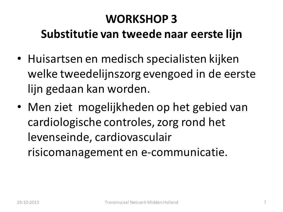 WORKSHOP 3 Substitutie van tweede naar eerste lijn Huisartsen en medisch specialisten kijken welke tweedelijnszorg evengoed in de eerste lijn gedaan k
