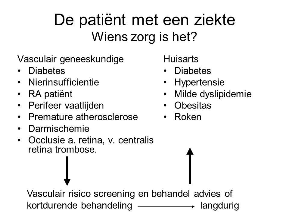 Vasculair geneeskundige Diabetes Nierinsufficientie RA patiënt Perifeer vaatlijden Premature atherosclerose Darmischemie Occlusie a. retina, v. centra