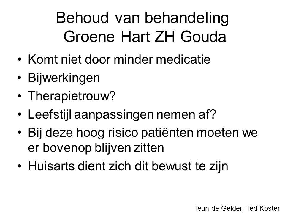 Behoud van behandeling Groene Hart ZH Gouda Komt niet door minder medicatie Bijwerkingen Therapietrouw? Leefstijl aanpassingen nemen af? Bij deze hoog