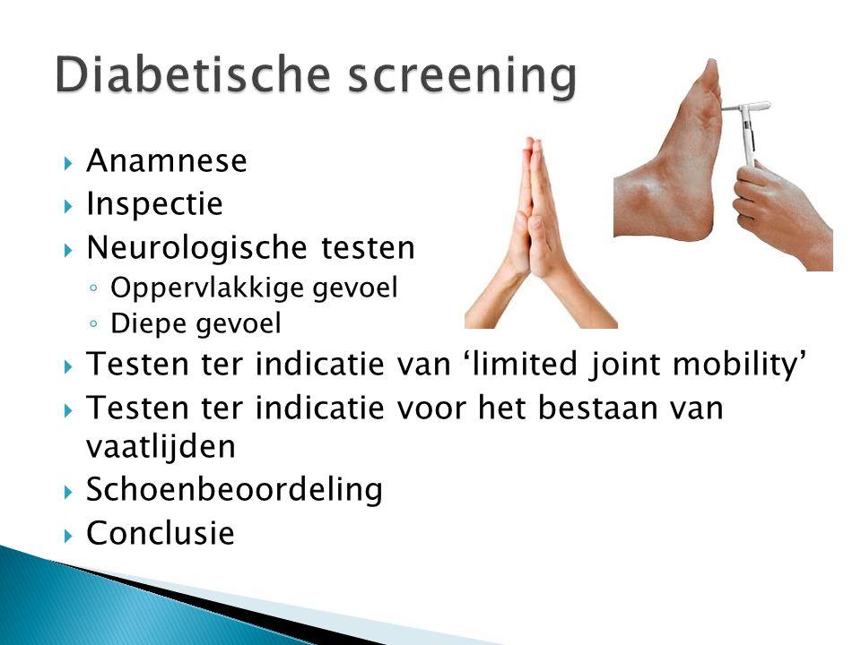  Anamnese  Inspectie  Neurologische testen ◦ Oppervlakkige gevoel ◦ Diepe gevoel  Testen ter indicatie van 'limited joint mobility'  Testen ter indicatie voor het bestaan van vaatlijden  Schoenbeoordeling  Conclusie