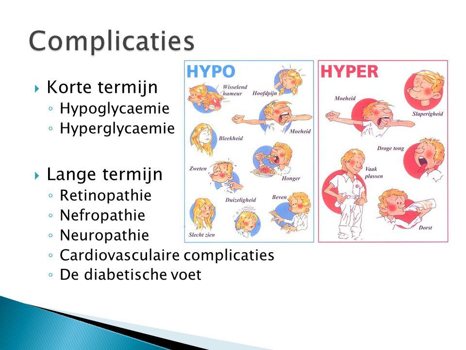  Korte termijn ◦ Hypoglycaemie ◦ Hyperglycaemie  Lange termijn ◦ Retinopathie ◦ Nefropathie ◦ Neuropathie ◦ Cardiovasculaire complicaties ◦ De diabetische voet