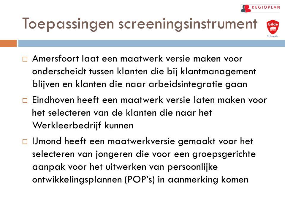 Toepassingen screeningsinstrument  Amersfoort laat een maatwerk versie maken voor onderscheidt tussen klanten die bij klantmanagement blijven en klan