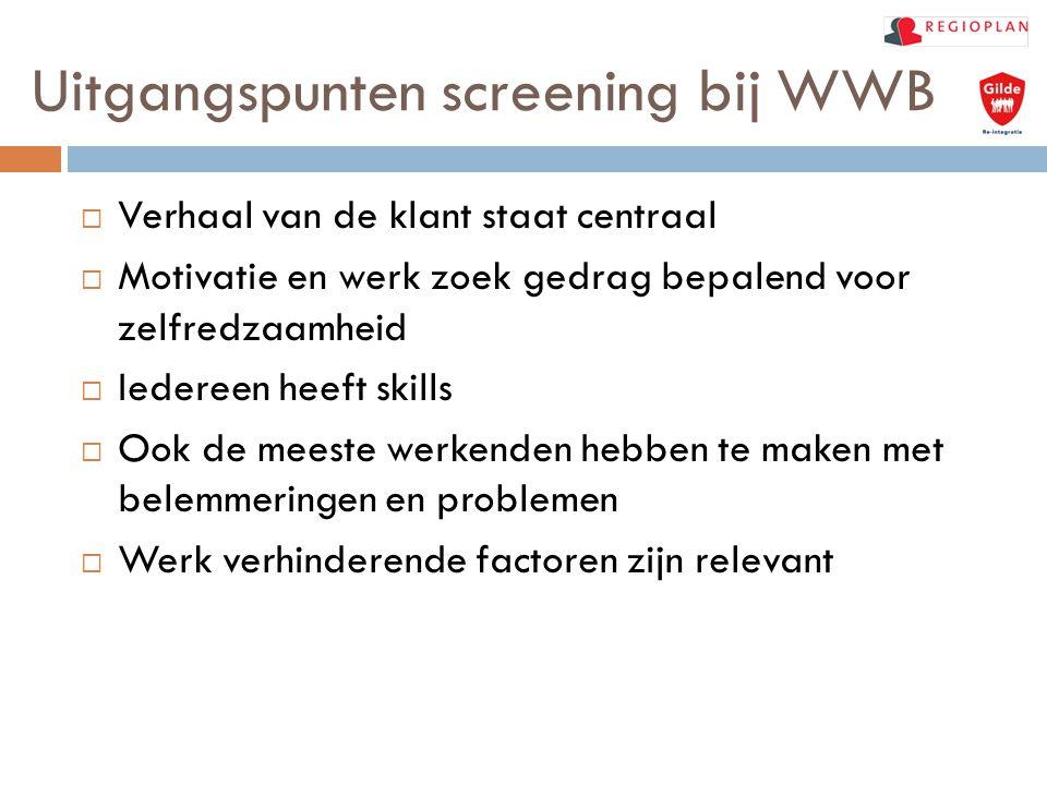 Uitgangspunten screening bij WWB  Verhaal van de klant staat centraal  Motivatie en werk zoek gedrag bepalend voor zelfredzaamheid  Iedereen heeft