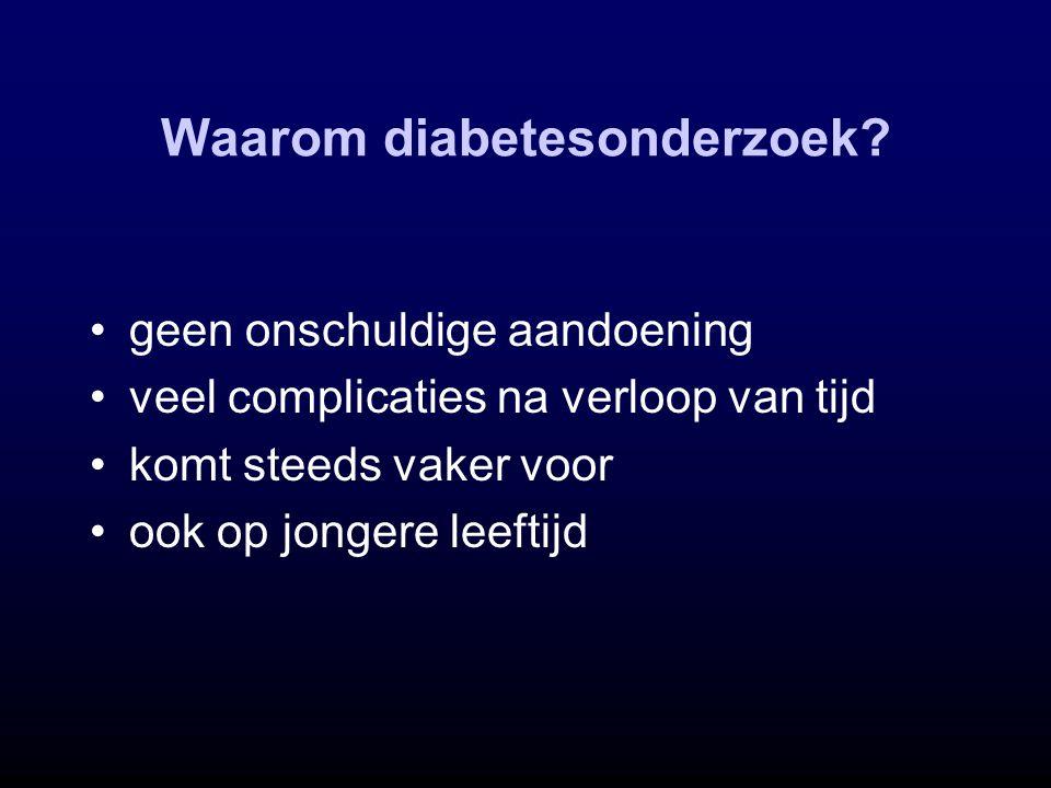 Waarom diabetesonderzoek? geen onschuldige aandoening veel complicaties na verloop van tijd komt steeds vaker voor ook op jongere leeftijd