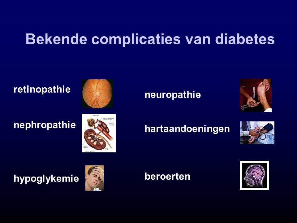 Bekende complicaties van diabetes retinopathie nephropathie hypoglykemie neuropathie hartaandoeningen beroerten