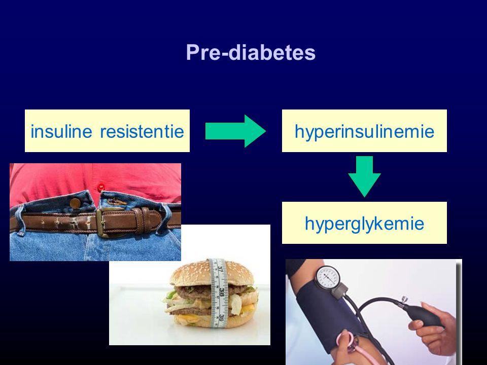 Pre-diabetes hyperglykemie insuline resistentiehyperinsulinemie