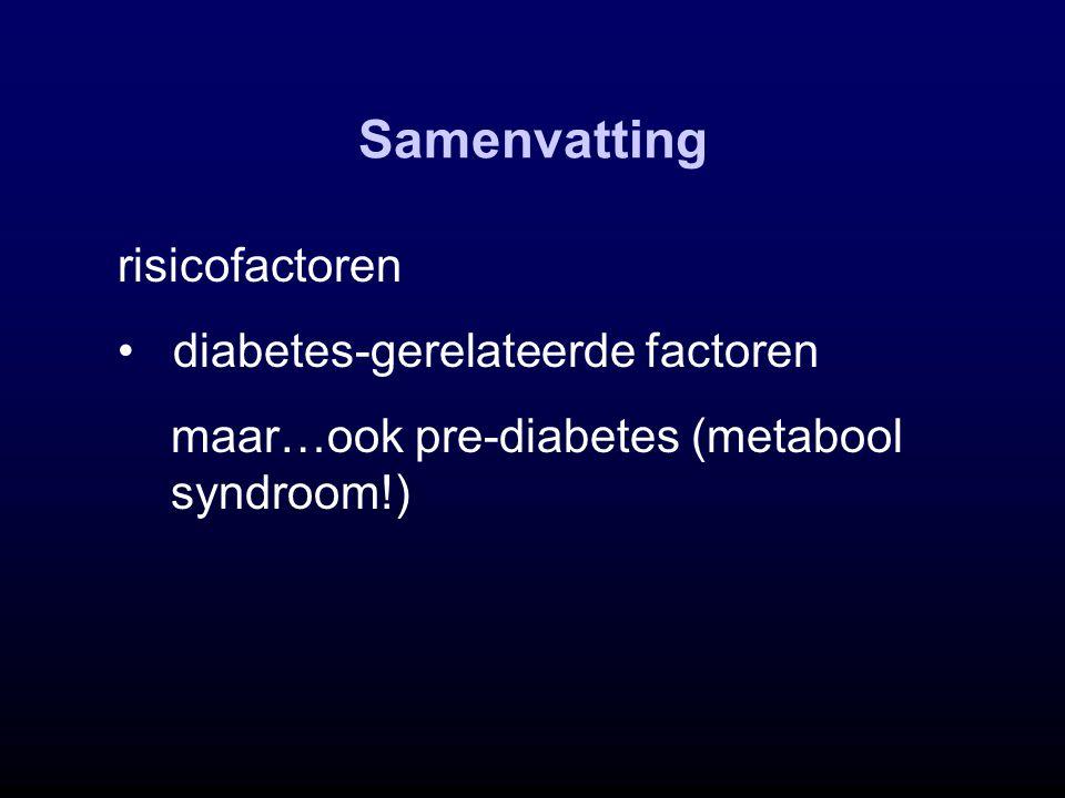 Samenvatting risicofactoren diabetes-gerelateerde factoren maar…ook pre-diabetes (metabool syndroom!)