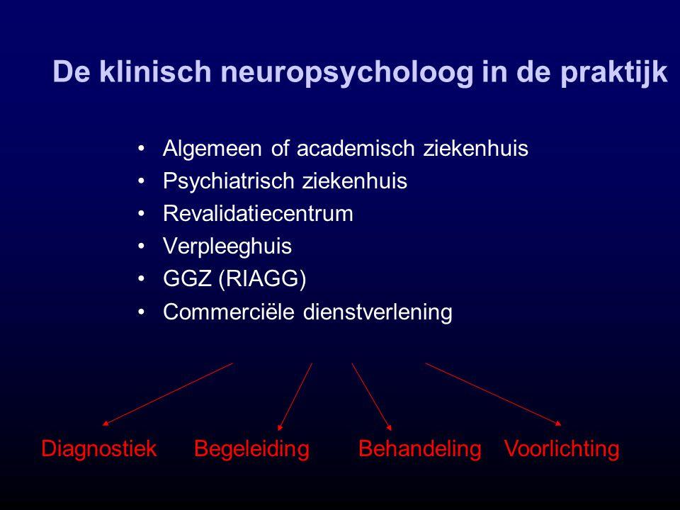 De klinisch neuropsycholoog in de praktijk Algemeen of academisch ziekenhuis Psychiatrisch ziekenhuis Revalidatiecentrum Verpleeghuis GGZ (RIAGG) Comm