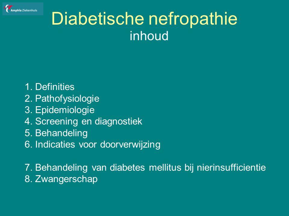 Diabetische nefropathie Glucose-verlagende medicatie bij nierinsufficientie Metformine: cave lactaat acidose: zeer hoge mortaliteit risico verhoogd bij: nier-/ leverinsufficientie, hypoxie bij hart- vaatlijden, slechte voedingstoestand, alcohol kreat klaring < 30 ml/min: absolute contra-indicatie kreat klaring 30-60 ml/min: cave intercurrente aandoeningen en comedicatie die nierfunctie verslechtert; bij braken/diarree/dreigende dehydratie metformine staken
