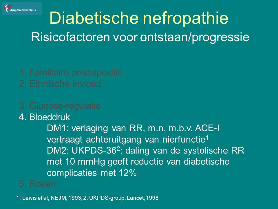 Diabetische nefropathie Risicofactoren voor ontstaan/progressie 1.