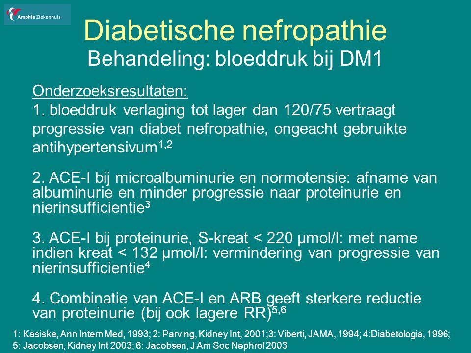 Diabetische nefropathie Behandeling: bloeddruk bij DM1 Onderzoeksresultaten: 1.
