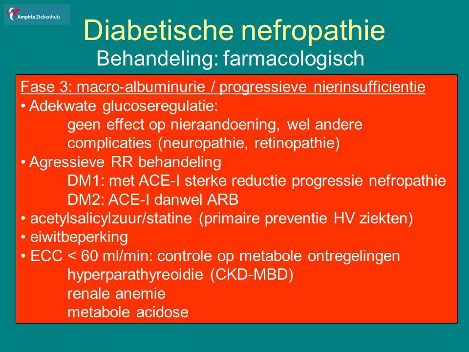 Diabetische nefropathie Behandeling: farmacologisch Fase 3: macro-albuminurie / progressieve nierinsufficientie Adekwate glucoseregulatie: geen effect op nieraandoening, wel andere complicaties (neuropathie, retinopathie) Agressieve RR behandeling DM1: met ACE-I sterke reductie progressie nefropathie DM2: ACE-I danwel ARB acetylsalicylzuur/statine (primaire preventie HV ziekten) eiwitbeperking ECC < 60 ml/min: controle op metabole ontregelingen hyperparathyreoidie (CKD-MBD) renale anemie metabole acidose