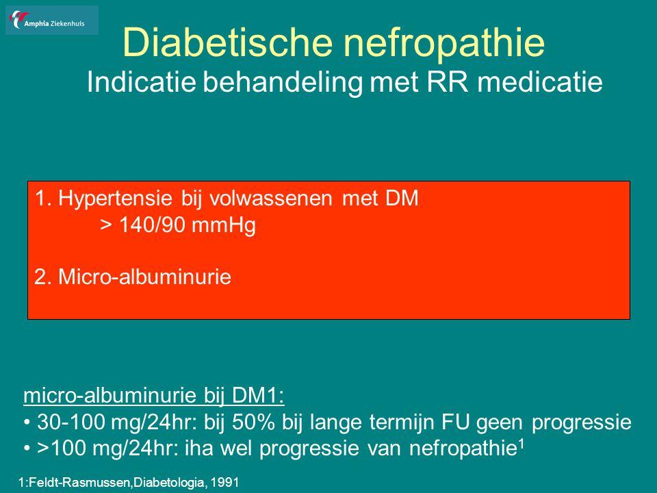 Diabetische nefropathie Indicatie behandeling met RR medicatie 1.