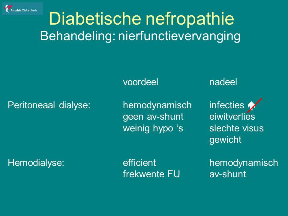 Diabetische nefropathie Behandeling: nierfunctievervanging voordeelnadeel Peritoneaal dialyse:hemodynamischinfecties  geen av-shunteiwitverlies weinig hypo 'sslechte visus gewicht Hemodialyse:efficienthemodynamisch frekwente FUav-shunt