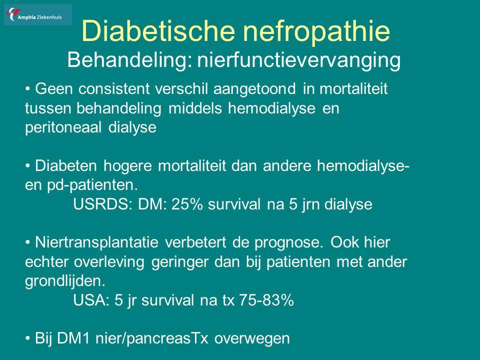 Diabetische nefropathie Behandeling: nierfunctievervanging Geen consistent verschil aangetoond in mortaliteit tussen behandeling middels hemodialyse en peritoneaal dialyse Diabeten hogere mortaliteit dan andere hemodialyse- en pd-patienten.