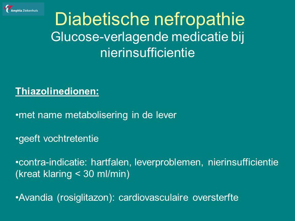 Diabetische nefropathie Glucose-verlagende medicatie bij nierinsufficientie Thiazolinedionen: met name metabolisering in de lever geeft vochtretentie contra-indicatie: hartfalen, leverproblemen, nierinsufficientie (kreat klaring < 30 ml/min) Avandia (rosiglitazon): cardiovasculaire oversterfte