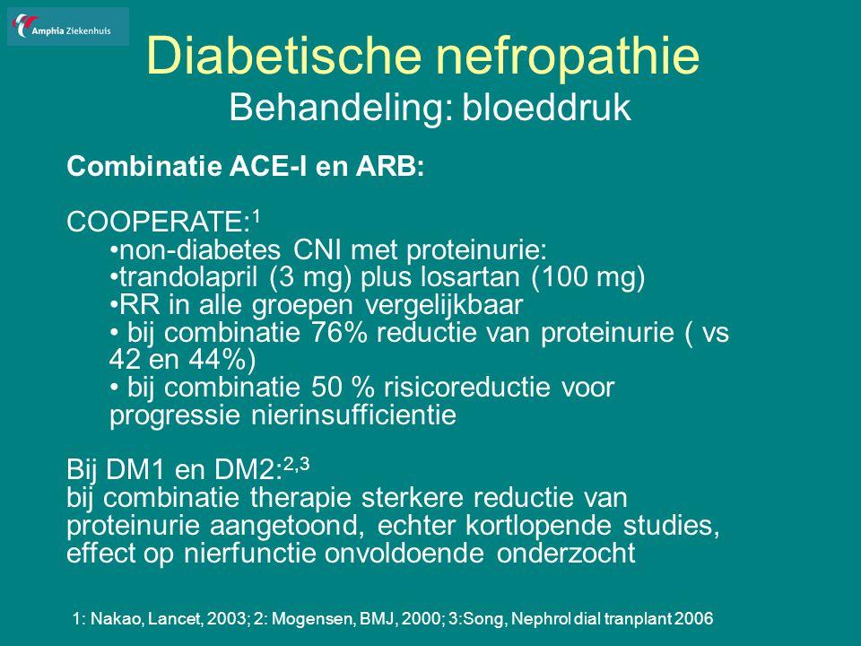 Diabetische nefropathie Behandeling: bloeddruk Combinatie ACE-I en ARB: COOPERATE: 1 non-diabetes CNI met proteinurie: trandolapril (3 mg) plus losartan (100 mg) RR in alle groepen vergelijkbaar bij combinatie 76% reductie van proteinurie ( vs 42 en 44%) bij combinatie 50 % risicoreductie voor progressie nierinsufficientie Bij DM1 en DM2: 2,3 bij combinatie therapie sterkere reductie van proteinurie aangetoond, echter kortlopende studies, effect op nierfunctie onvoldoende onderzocht 1: Nakao, Lancet, 2003; 2: Mogensen, BMJ, 2000; 3:Song, Nephrol dial tranplant 2006