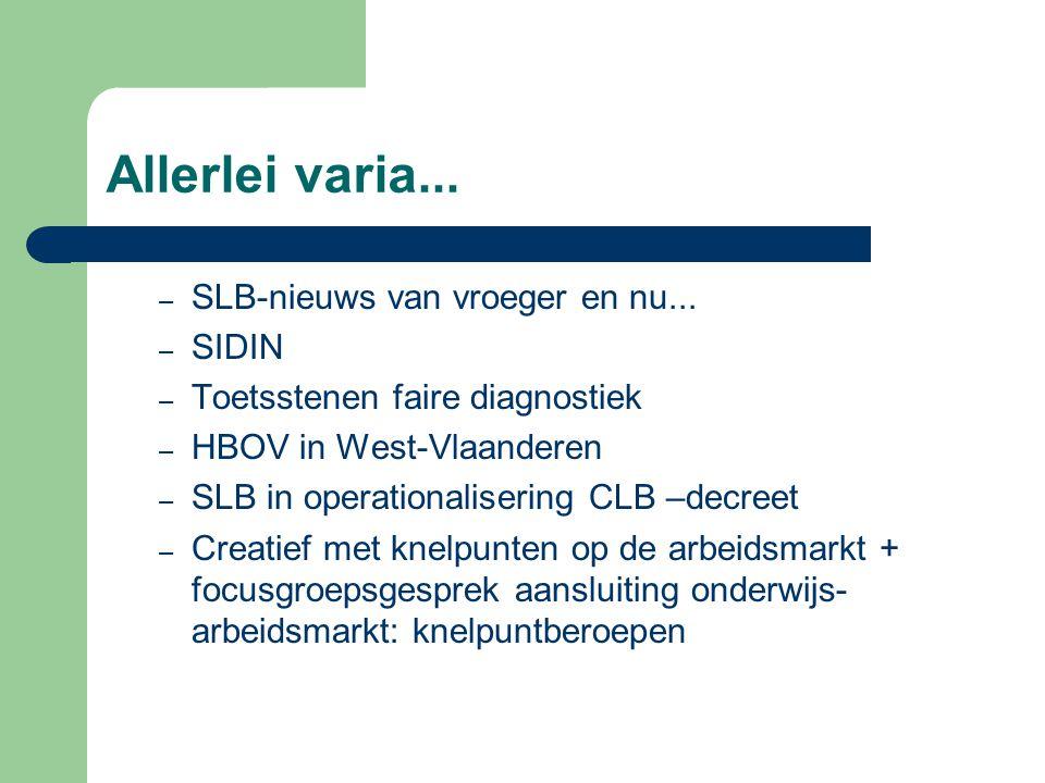 Allerlei varia... – SLB-nieuws van vroeger en nu... – SIDIN – Toetsstenen faire diagnostiek – HBOV in West-Vlaanderen – SLB in operationalisering CLB