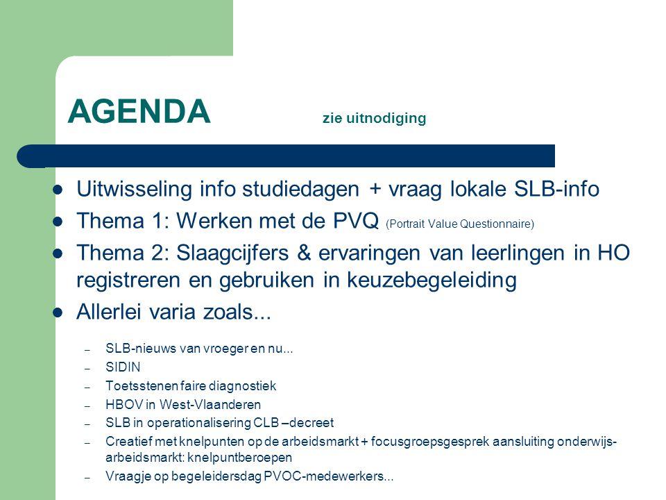 Uitwisseling Info studiedagen – Helden van elke dag – Documentalistenvergadering (prov.+nat.) – SLB-opleiding (4d) in Koepel SLB-opleiding –...