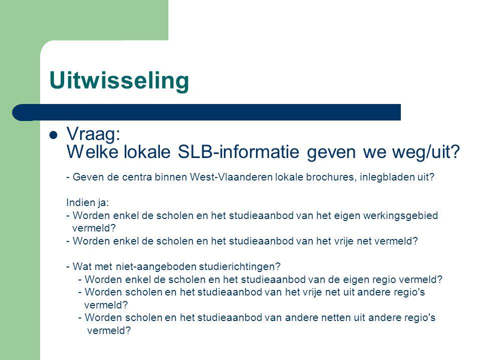 Uitwisseling Vraag: Welke lokale SLB-informatie geven we weg/uit.