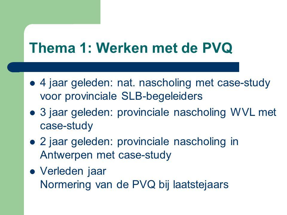 Thema 1: Werken met de PVQ 4 jaar geleden: nat.