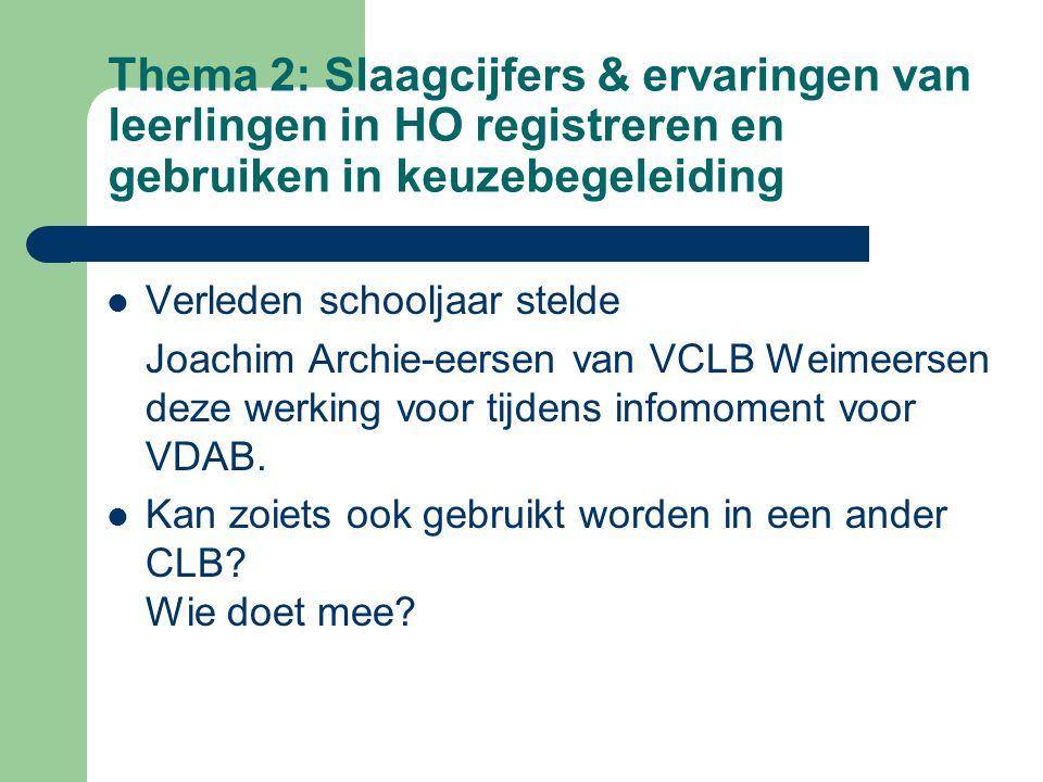 Thema 2: Slaagcijfers & ervaringen van leerlingen in HO registreren en gebruiken in keuzebegeleiding Verleden schooljaar stelde Joachim Archie-eersen van VCLB Weimeersen deze werking voor tijdens infomoment voor VDAB.