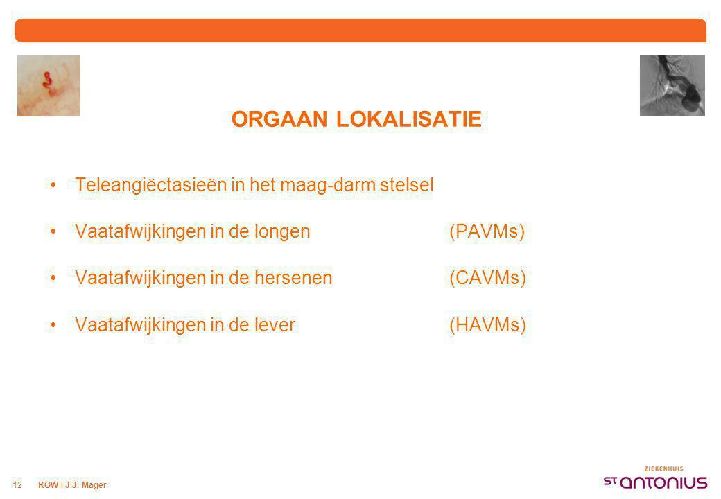 ROW | J.J. Mager12 ORGAAN LOKALISATIE Teleangiëctasieën in het maag-darm stelsel Vaatafwijkingen in de longen (PAVMs) Vaatafwijkingen in de hersenen (