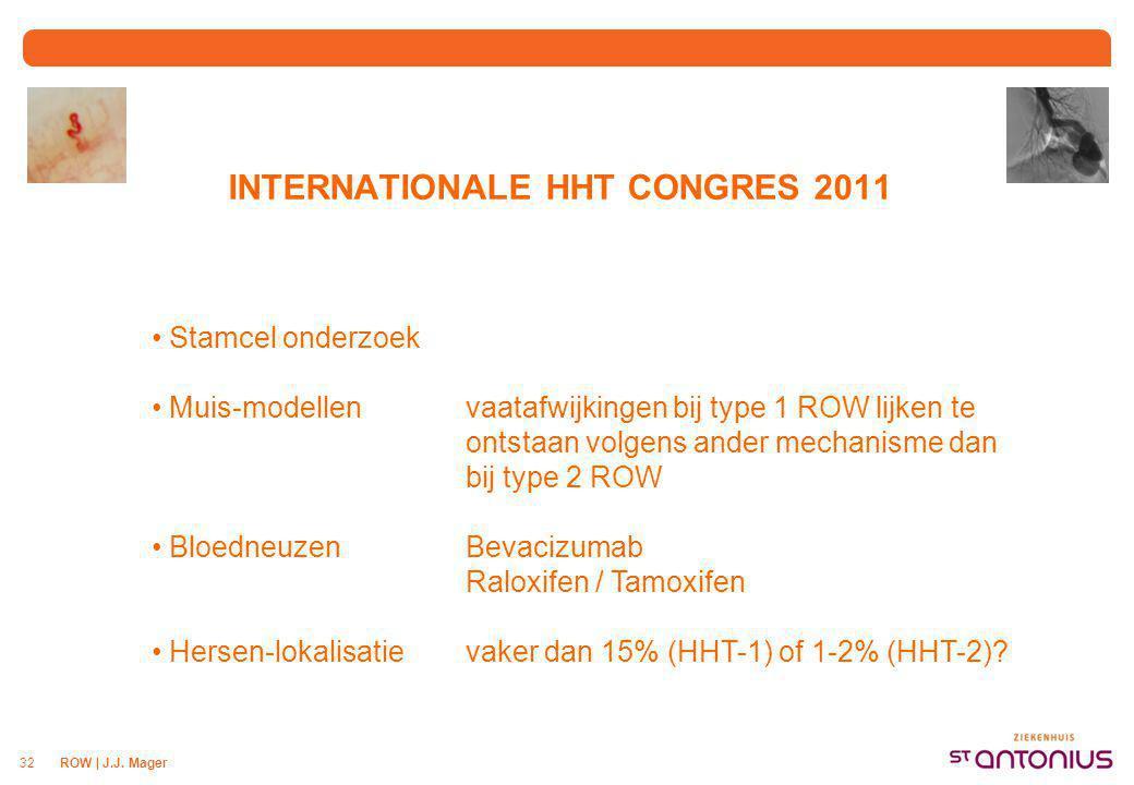 ROW | J.J. Mager32 INTERNATIONALE HHT CONGRES 2011 Stamcel onderzoek Muis-modellenvaatafwijkingen bij type 1 ROW lijken te ontstaan volgens ander mech