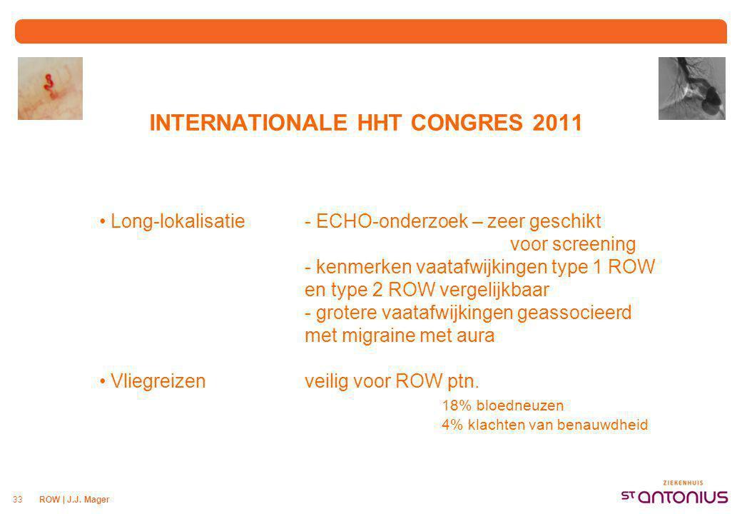 ROW | J.J. Mager33 INTERNATIONALE HHT CONGRES 2011 Long-lokalisatie- ECHO-onderzoek – zeer geschikt voor screening - kenmerken vaatafwijkingen type 1