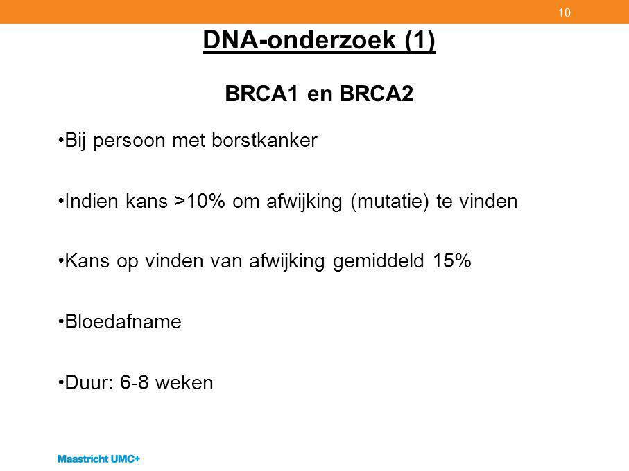 10 DNA-onderzoek (1) BRCA1 en BRCA2 Bij persoon met borstkanker Indien kans >10% om afwijking (mutatie) te vinden Kans op vinden van afwijking gemiddeld 15% Bloedafname Duur: 6-8 weken