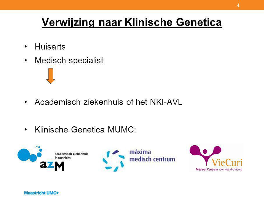 4 Verwijzing naar Klinische Genetica Huisarts Medisch specialist Academisch ziekenhuis of het NKI-AVL Klinische Genetica MUMC: