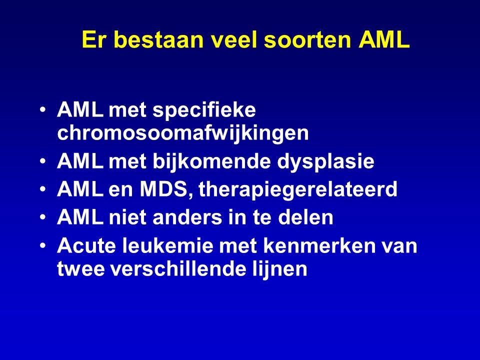 Er bestaan veel soorten AML AML met specifieke chromosoomafwijkingen AML met bijkomende dysplasie AML en MDS, therapiegerelateerd AML niet anders in t
