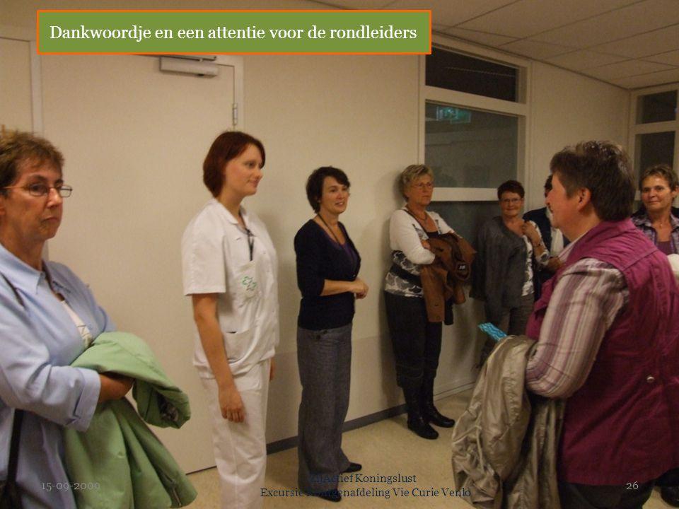 15-09-2009 ZijActief Koningslust Excursie Rontgenafdeling Vie Curie Venlo 26 Dankwoordje en een attentie voor de rondleiders