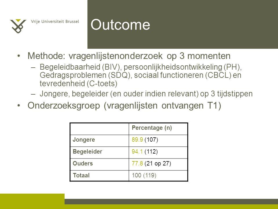 Outcome Methode: vragenlijstenonderzoek op 3 momenten –Begeleidbaarheid (BIV), persoonlijkheidsontwikkeling (PH), Gedragsproblemen (SDQ), sociaal func