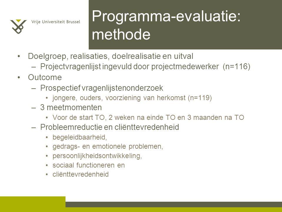 Programma-evaluatie: methode Doelgroep, realisaties, doelrealisatie en uitval –Projectvragenlijst ingevuld door projectmedewerker (n=116) Outcome –Pro