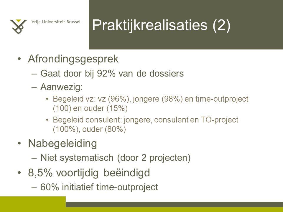 Praktijkrealisaties (2) Afrondingsgesprek –Gaat door bij 92% van de dossiers –Aanwezig: Begeleid vz: vz (96%), jongere (98%) en time-outproject (100)