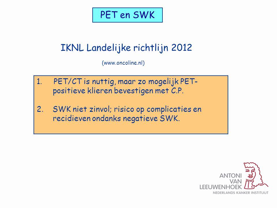 PET en SWK 1. PET/CT is nuttig, maar zo mogelijk PET- positieve klieren bevestigen met C.P. 2. SWK niet zinvol; risico op complicaties en recidieven o