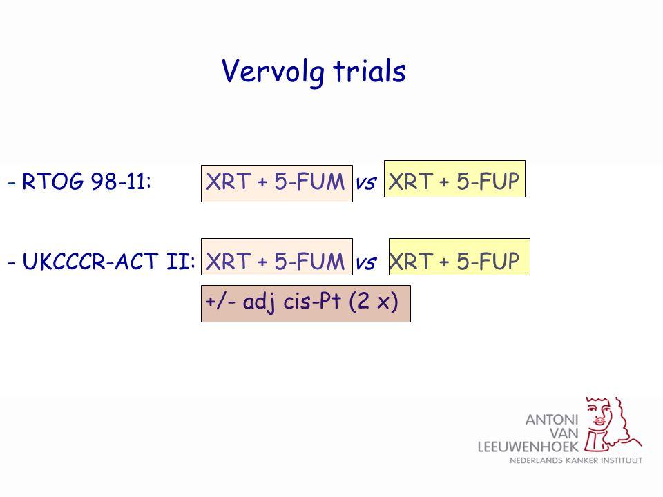 - RTOG 98-11: XRT + 5-FUM vs XRT + 5-FUP - UKCCCR-ACT II: XRT + 5-FUM vs XRT + 5-FUP +/- adj cis-Pt (2 x) Vervolg trials