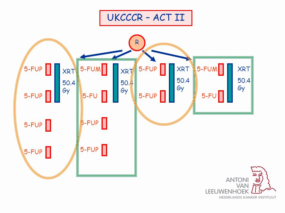 UKCCCR – ACT II R 5-FUP XRT 50.4 Gy 5-FUP 5-FUM 5-FUP 5-FUMXRT 50.4 Gy XRT 50.4 Gy XRT 50.4 Gy 5-FU