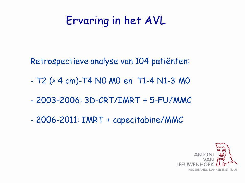 Ervaring in het AVL Retrospectieve analyse van 104 patiënten: - T2 (> 4 cm)-T4 N0 M0 en T1-4 N1-3 M0 - 2003-2006: 3D-CRT/IMRT + 5-FU/MMC - 2006-2011: