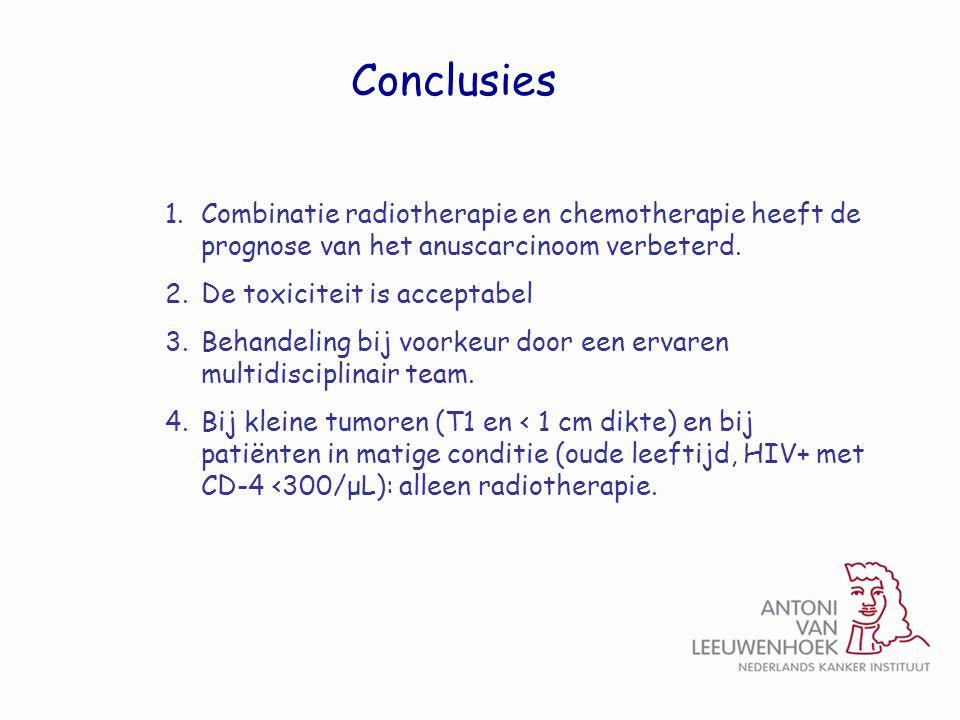Conclusies 1.Combinatie radiotherapie en chemotherapie heeft de prognose van het anuscarcinoom verbeterd. 2.De toxiciteit is acceptabel 3.Behandeling