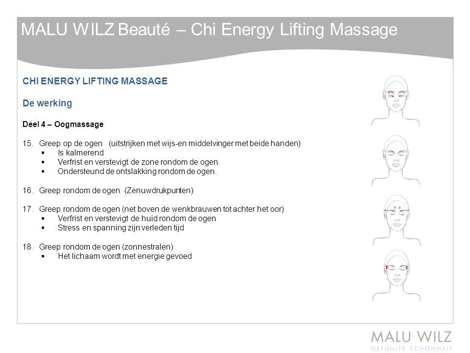 CHI ENERGY LIFTING MASSAGE De werking Deel 4 – Oogmassage 15.Greep op de ogen (uitstrijken met wijs-en middelvinger met beide handen)  Is kalmerend 