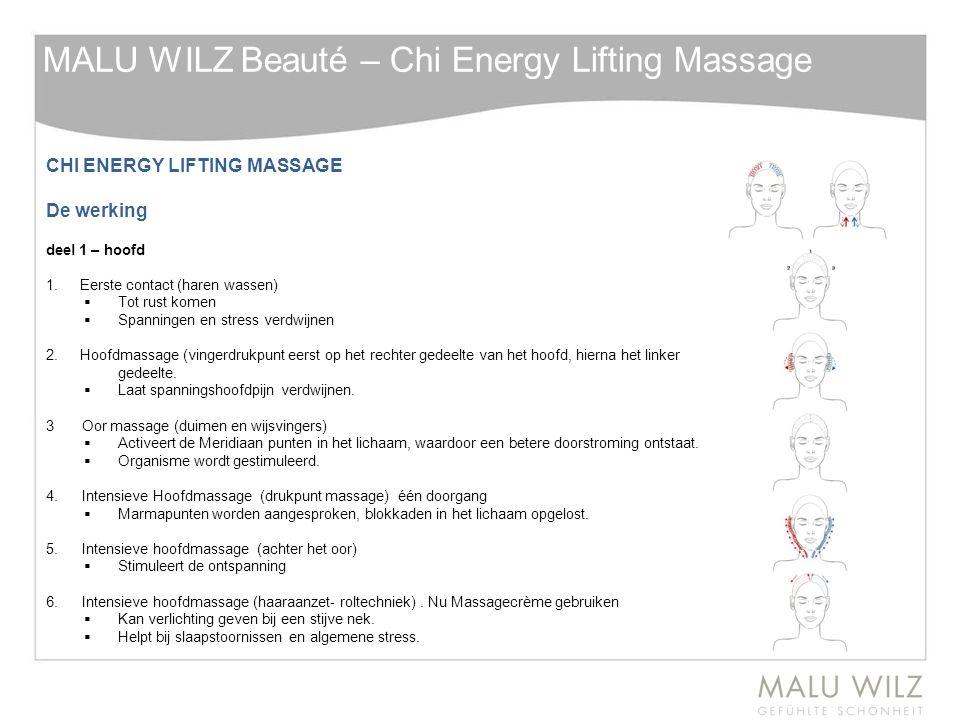 CHI ENERGY LIFTING MASSAGE De werking deel 1 – hoofd 1. Eerste contact (haren wassen)  Tot rust komen  Spanningen en stress verdwijnen 2. Hoofdmassa