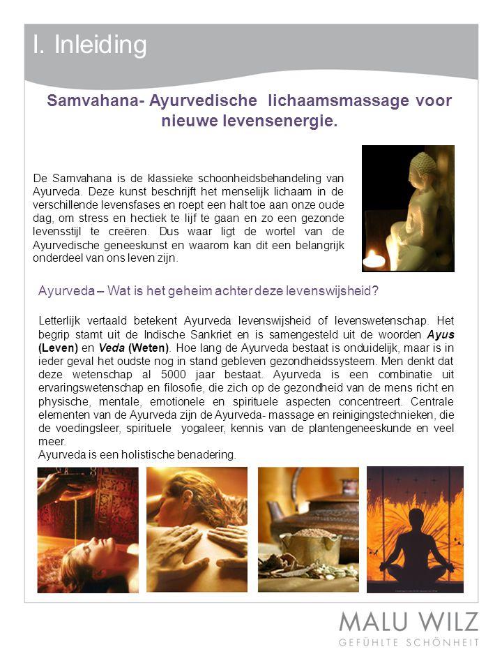I.Inleiding De Samvahana is de klassieke schoonheidsbehandeling van Ayurveda.