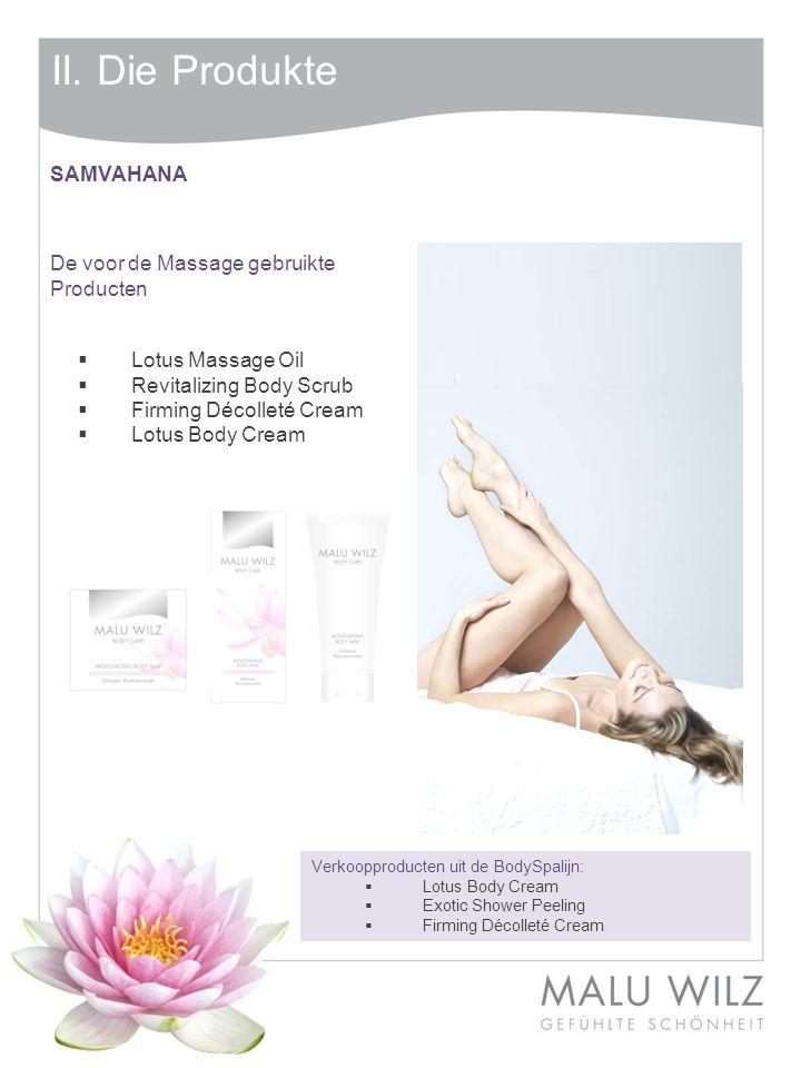 II. Die Produkte Verkoopproducten uit de BodySpalijn:  Lotus Body Cream  Exotic Shower Peeling  Firming Décolleté Cream SAMVAHANA De voor de Massag
