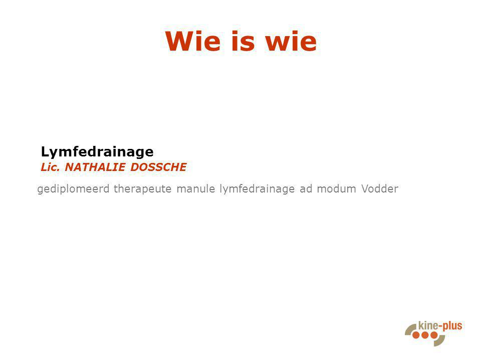 Wie is wie gediplomeerd therapeute manule lymfedrainage ad modum Vodder Lymfedrainage Lic. NATHALIE DOSSCHE