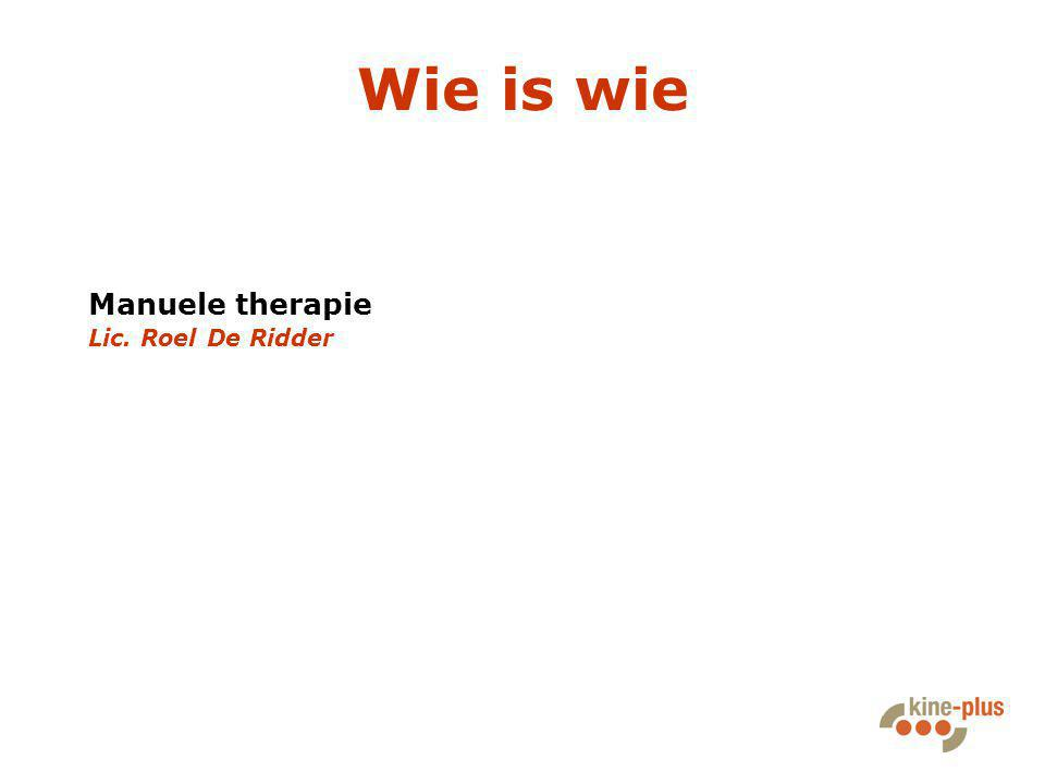 Wie is wie Manuele therapie Lic. Roel De Ridder