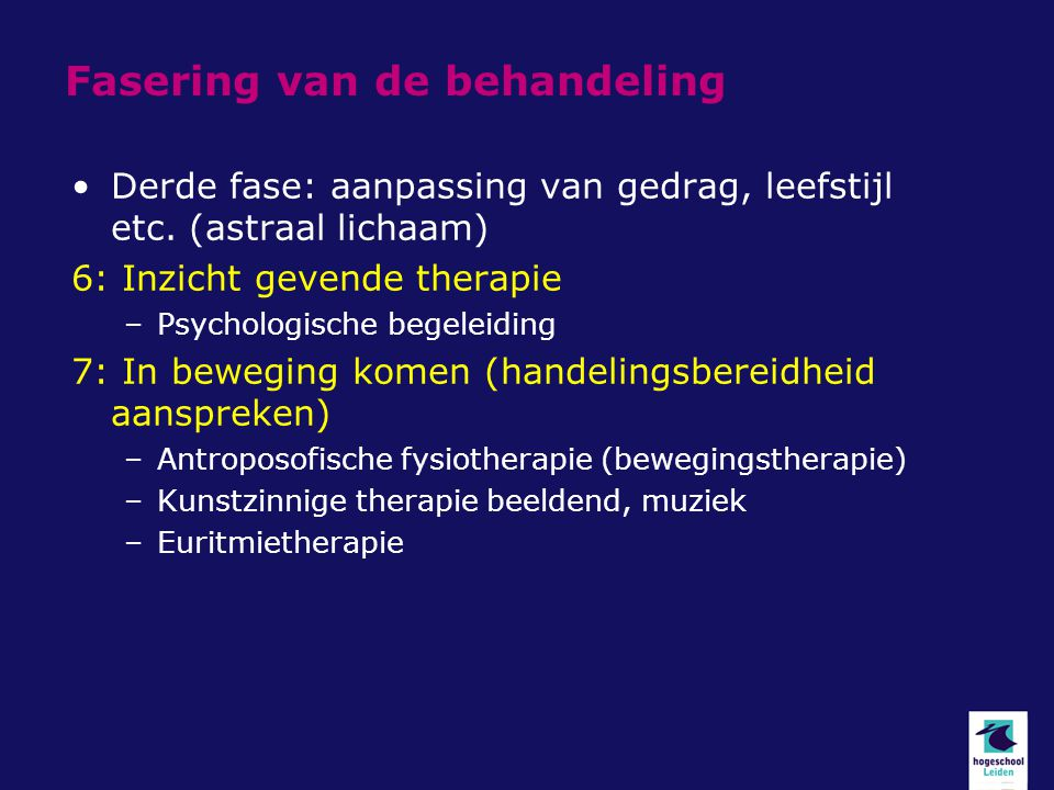 Fasering van de behandeling Derde fase: aanpassing van gedrag, leefstijl etc. (astraal lichaam) 6: Inzicht gevende therapie –Psychologische begeleidin